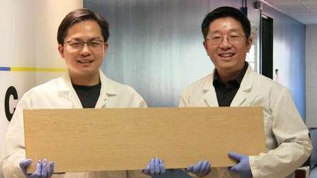 Liangbing Hu e seu colega Teng Li mostrando a supermadeira; pesquisadores a testaram com projéteis semelhantes a balas de revólver | Foto: Universidade de Maryland