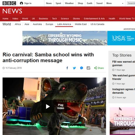 BBC destacou mensagem anti-corrupção da Beija-Flor
