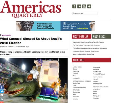 Americas Quarterly disse que desfiles dizem muito sobre as eleições deste ano