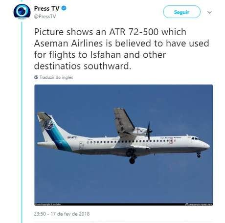 O avião comercial caiu neste domingo (18) nos arredores de Isfahan, no centro do Irã. Todos os passageiros e tripulantes morreram.