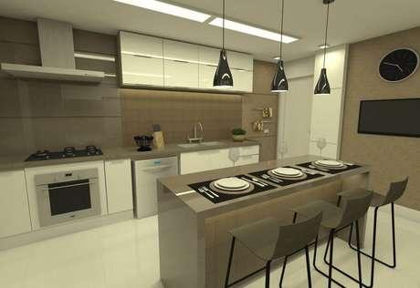 33. Modelo de cozinha planejada simples com ilha