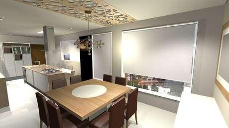 8. A cozinha com ilha conjugada com sala de jantar é excelente para fazer confraternizações