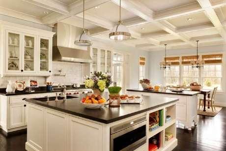 31. Linda inspiração de cozinha americana com ilha