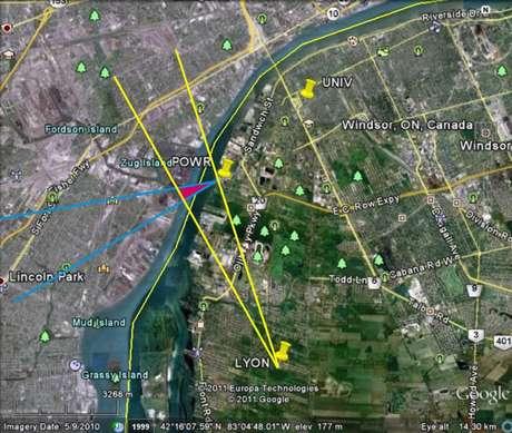 Triângulo avermelhado identificado no estudo da Universidade de Ontario Ocidental mostra a origem mais provável do ruído, na ilha Zug   Imagem: Agencia Geológica de Canadá