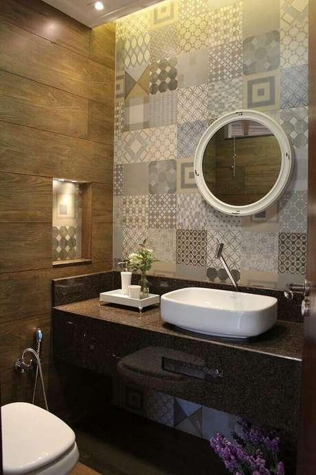 45 modelos de lavabo pequeno e 5 dicas para decorar o seu - Papel decorado para paredes ...