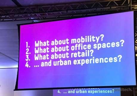 Temas tratados por Ratti no evento: mobilidade, escritórios, varejos e experiências urbanas (Imagem: Natalie Rosa)
