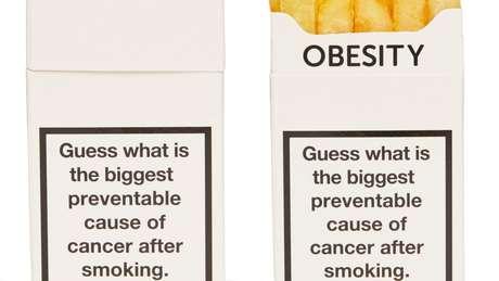 A campanha dizia: 'Advinha qual a segunda maior causa de câncer que pode prevenida, depois de fumar?' | Foto: Cancer Research/Reprodução