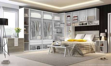 17. O guarda-roupa aberto é uma boa opção para quem tem pouco espaço, mas deve estar sempre organizado. Projeto de LojasKD