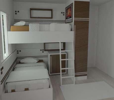 56. Quarto planejado infantil com duas camas. Projeto de Diego Oliveira