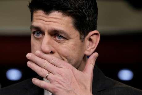 Presidente da Câmara dos Deputados dos Estados Unidso, Paul Ryan, em conferência em Washington, EUA 14/02/2018  REUTERS/Yuri Gripas