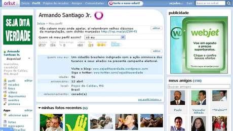 A BBC Brasil teve acesso a essa captura de tela do perfil no Orkut de 'Armando Santiago Jr', que serviu para dar um 'autor' ao blog 'Seja Dita Verdade' | Imagem: Reprodução/Orkut