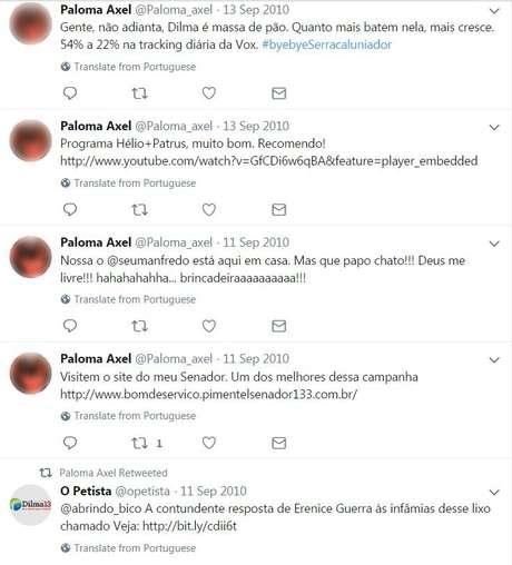 'Paloma Axel' tuita a favor de Dilma e Fernando Pimentel (PT), além de interagir com outro fake | Imagem: Reprodução/Twitter