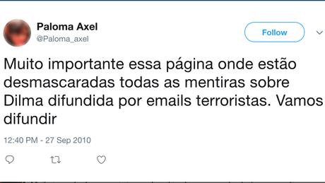 Perfil de 'Paloma Axel', que usa foto de escritora argentina, divulga blog de notícias enviesadas criado por funcionários | Imagem: Reprodução/Twitter