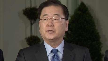 Representante da Coreia do Sul, Chung Eui-yong anunciou nos EUA planos de encontro entre Trump e Kim Jong-un