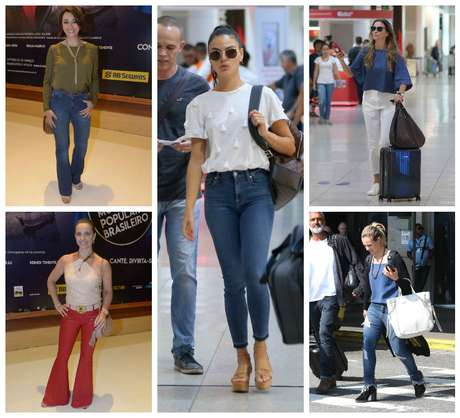 Os vários modelos de calças das famosas (Fotos: AgNews)
