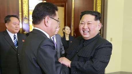 Antes do anúncio de encontro entre EUA e Coreia do Norte, representantes da Coreia do Sul haviam se encontrado com Kim Jong-un em Pyongyang