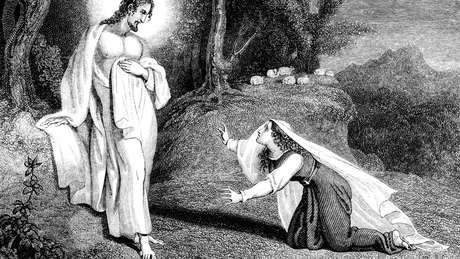 Ilustração de 1836 mostra aparição de Jesus a Maria Madalena; ela é citada nominalmente na Bíblia 17 vezes