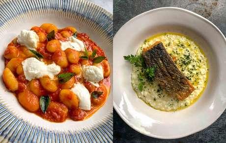 Gnocchi Sorrentina e Risoto de Limão e Salmão do restaurante Jamie´s Italian