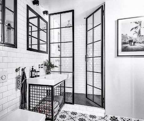 32 Detalhes super delicados para decoração de banheiro preto e branco