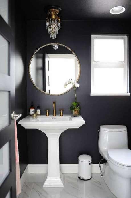 44. Inspiração delicada de banheiro preto e branco