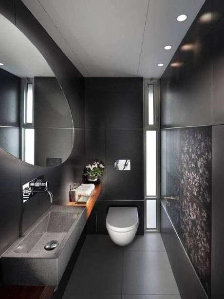 27. Lindo banheiro preto com inspiração contemporânea