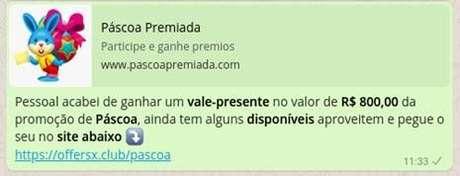 Mensagem que chega no WhatsApp divulgando a falsa oferta (Imagem: DFNDR Lab)
