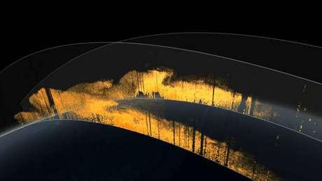 Representação artística da camada de poeira na atmosfera da Terra | Imagem: Nasa Goddard's Visualization Studio