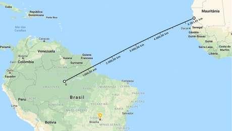 Mais de 5 mil km separam a borda do deserto da floresta amazônica   Imagem: Reprodução/Google Maps