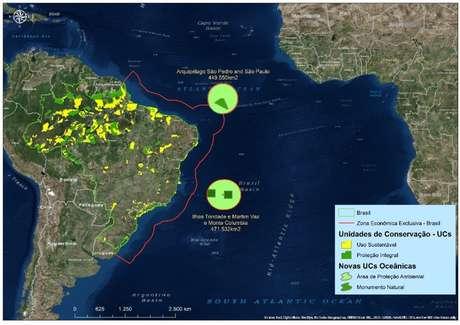 Mapa mostra as duas maiores reservas marinhas do país, criadas nos arquipélagos de Trindade e Martin Vaz e São Pedro e São Paulo | Imagem: Governo Federal
