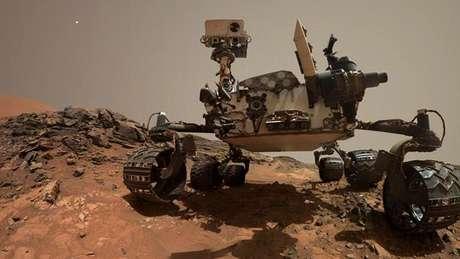 """""""Selfies"""" obrigatórias: Ao longo do tempo, o Curiosity foi se tornando tão famoso quanto algumas celebridades do Instagram, e parte disso se deve ao fato do aparelho ter tirado várias """"selfies"""" durante sua missão."""