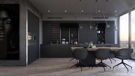 28. Linda e moderna cozinha planejada preta