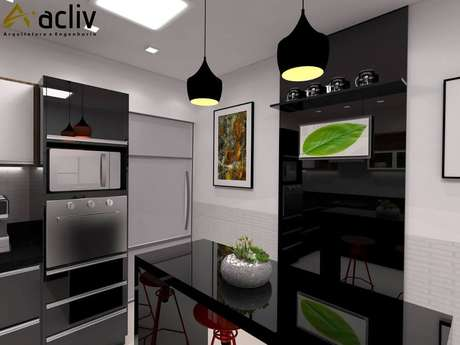 49. Projeto de cozinha planejada preta