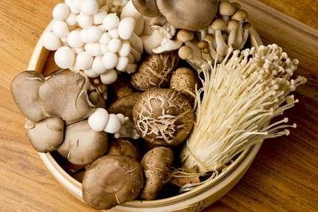 Tigela com vários tipos de cogumelos