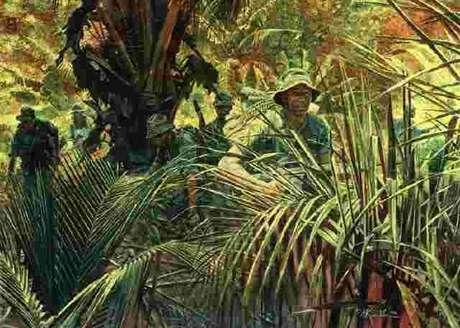 Pelotão se desloca na selva (Ofensiva do Tet, 1968)