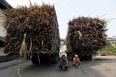 Caminhões de cana de açúcar são vistos na província de Ratchaburi, Tailândia 22/03/2016  REUTERS/Jorge Silva