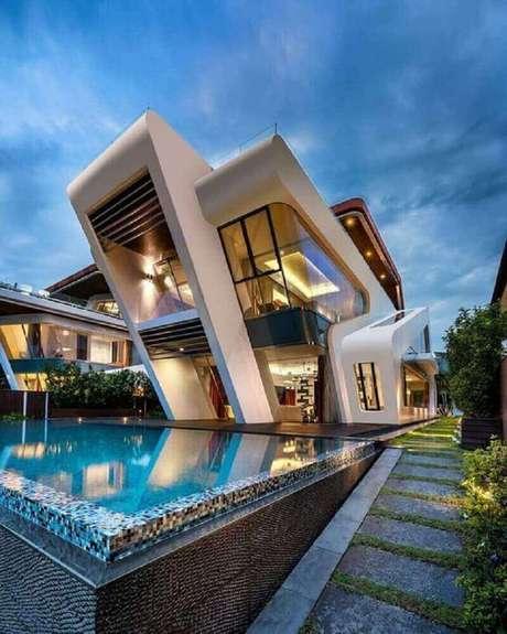 18. Projeto de casa de rico com fachada moderna