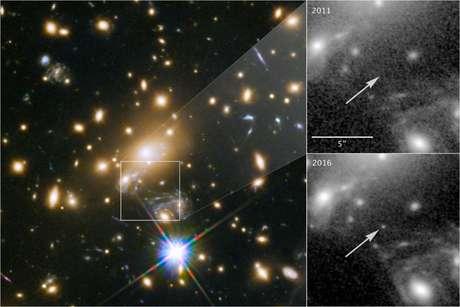 Registro da estrela Icarus graças às lentes gravitacionais (Foto:NASA, ESA, P. Kelly)