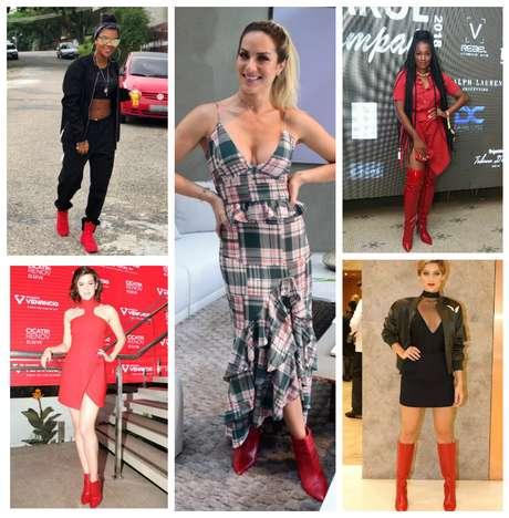 Famosas de botas vermelhas (Fotos: AgNews/Reprodução/Instagram)
