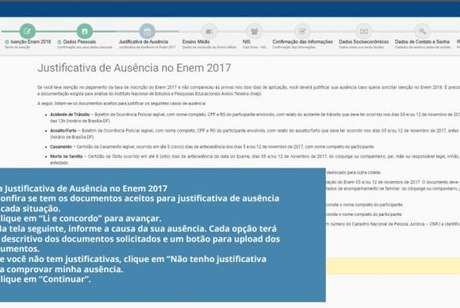 Tela Justificativa Enem 2017