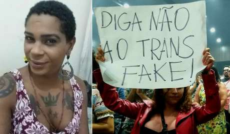 A militante Juhlia Santos e um cartaz de protesto do movimento de transexuais