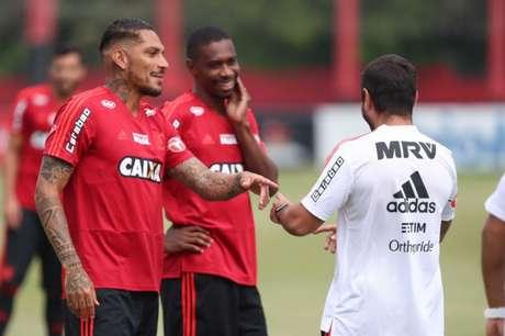 Guerrero voltou a participar do treinos no Ninho do Urubu em 20 de março (Foto: Gilvan de Souza/Flamengo)