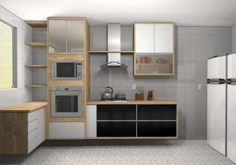 36. Decoração cozinha com coifa de parede em vidro e alumínio