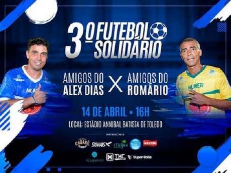 No dia 14 de abril, os amigos Alex Dias e o baixinho Romário promovem o 3º Futebol Solidário (Foto: Divulgação)
