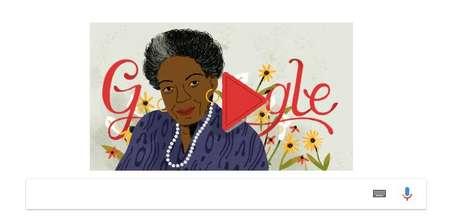 Ilustração que retrata Maya Angelou aparece acima da caixa de busca da ferramenta.
