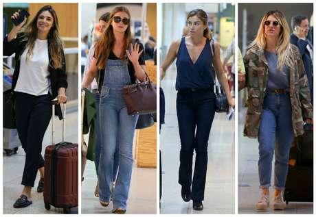 Rafa Brites, marina Ruy Barbosa, Grazi Massafera e Giovanna Ewbank no aeroporto indo para festa em São Paulo (Fotos: AgNews)