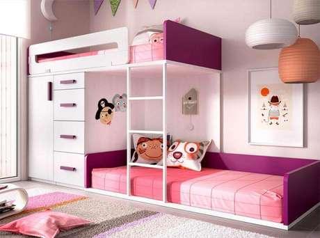 38. Beliche com armário embutido para quarto de menina