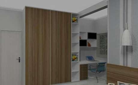 32. Invista em armário embutido com portas deslisantes para quartos pequenos