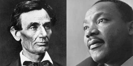 Abraham Lincoln (1809 - 1865), o 16º presidente dos Estados Unidos e Martin Luther King Jr (1929 - 1968), o defensor dos direitos civis americano em 1964.