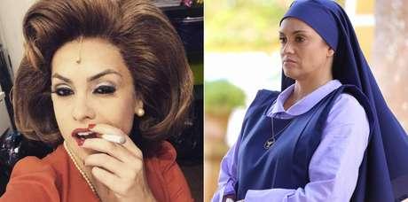 Renata Bras como Nair Bello no musical 'Hebe' e vivendo a Irmã Bene de 'Carinha de Anjo'
