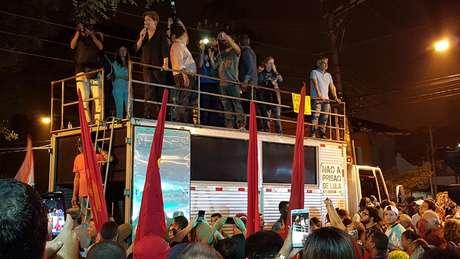 A ex-presidente Dilma Rousseff falou durante manifestação de apoio à Lula